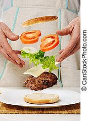conceitual, fazer, hambúrguer