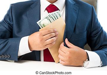 conceitual, foto, de, bribed, homem, pôr, dinheiro, em, a,...