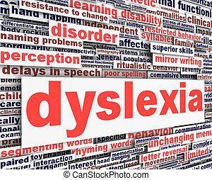 conceitual, incapacidade, mensagem, desenho, dislexia