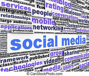conceitual, mídia, mensagem, desenho, social