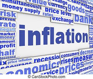 conceitual, mensagem, inflação, desenho