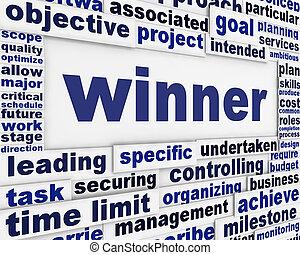Conceitual, mensagem, vencedor, fundo