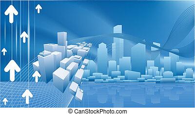 conceitual, negócio cidade, fundo