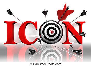 conceitual, palavra, alvo, vermelho, ícone