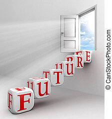 conceitual, palavra, futuro, porta, vermelho