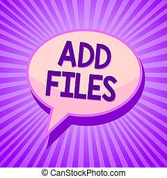 conceitual, passe escrito, mostrando, adicionar, files.,...
