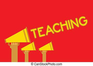 conceitual, passe escrito, mostrando, teaching., negócio, foto, showcasing, ato, de, dar, informação, explicando, um, assunto, para, um, pessoa, megafones, loudspeakers, alto, grito, falando, fala, listen.