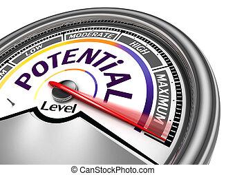 conceitual, potenciais, medidor, nível