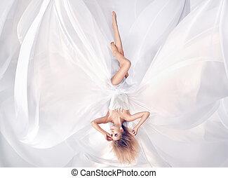 conceitual, retrato, de, um, prety, loiro, desgastar, folha branca, vestido