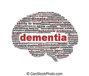 conceitual, símbolo, demência, desenho, isolado
