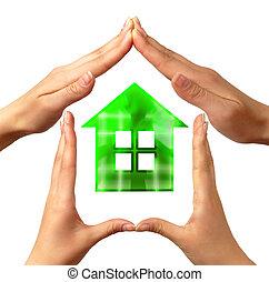 conceitual, símbolo, lar