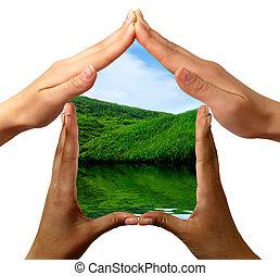 conceitual, símbolo, lar fez, por, mãos