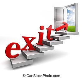 conceitual, saída, palavra, porta, vermelho
