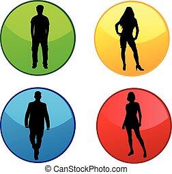 conceitual, silhuetas, de, pessoas., colorido, buttons.