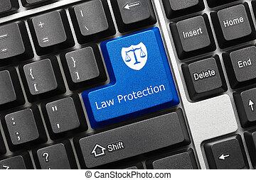 conceitual, teclado, -, lei, proteção, (blue, key)