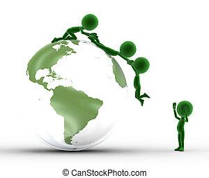 Conceitual, terra, globo, junto, pessoas