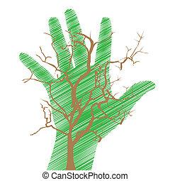 conceitual, terra, salvar, mão