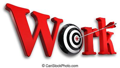 conceitual, trabalho, palavra, alvo, vermelho