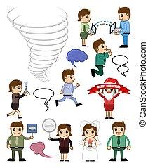 conceitual, vectors, vário, caricatura, pessoas