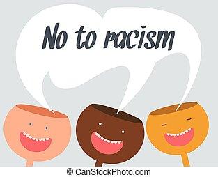 conceitual, vetorial, racismo, ilustração, não