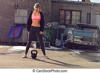 mon formation concentr poids fitness belle femme photo de stock rechercher images et. Black Bedroom Furniture Sets. Home Design Ideas