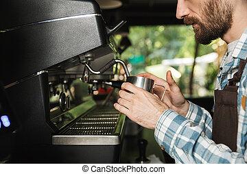 concentré, café, extérieur, barista, fonctionnement, image, café, quoique, confection, café, ou, homme