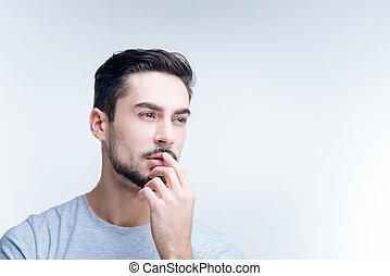 concentré, jeune, spécialiste, séance, au travail, et, pensée