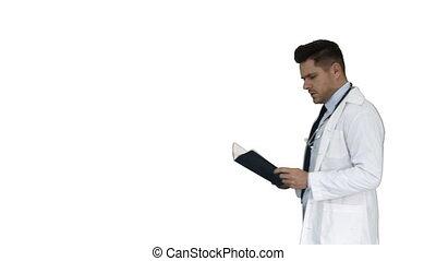 concentré, marche, docteur, monde médical, documentation, arrière-plan., quoique, blanc, lecture