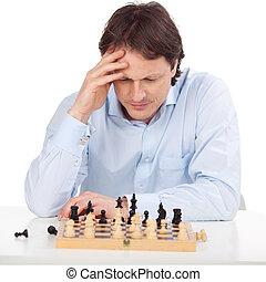 concentración, en, ajedrez