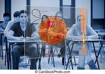 concentrado, cérebro, interface, colegas, futurista
