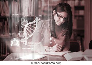 concentrado, estudante, estudar, universidade, biblioteca, medicina, maduras, digital, interface