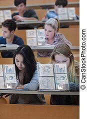 concentrado, estudantes, trabalhando
