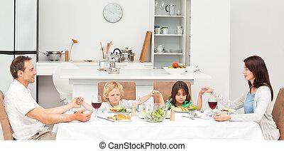 concentrado, família, almoço, orando, tendo, antes de