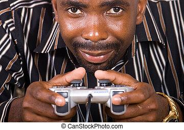 concentrar, juego, vídeo, hombre