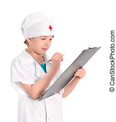 Concentrate young nurse writing medical report