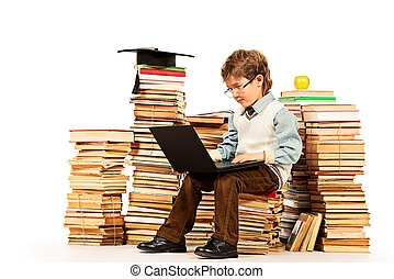 concentrated - A boy sitting on a pile of books with a ...