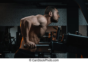 concentrated bodybuilder doing pull up on sport equipment in gym