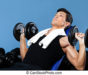 Concentrated bodybuilder exercises with weights