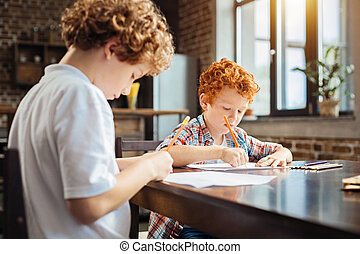 Concentrated brothers drawing together at home