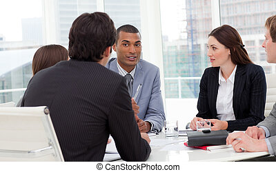 Concentrated business team discussing in the company