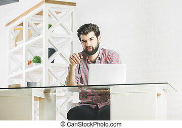 Concentrated businessman in office