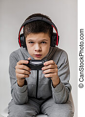 child boy playing video games