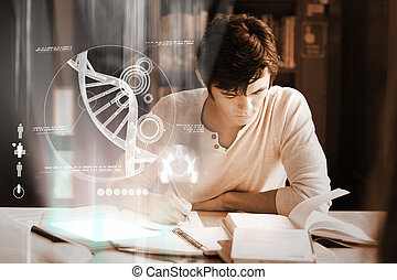 Concentrated college student analysing dna on digital...