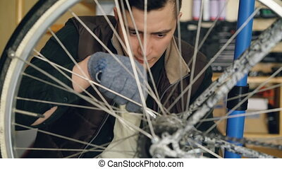 Concentrated guy skilled mechanic is repairing bicycle wheel...