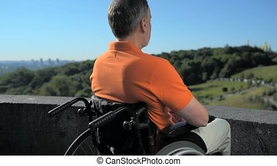 Concentrated wheelchaired man enjoying the view over the...