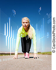 concentrated woman doing running outdoors - sport and...