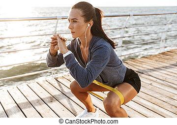 concentrati, gomma, sportiva, esercizi, banda