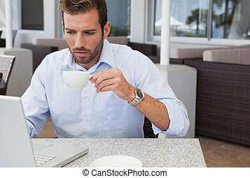 Concentrating businessman working w