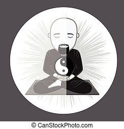 Concentrating Monk with Yin-Yang - Concentrating Taoism Monk...