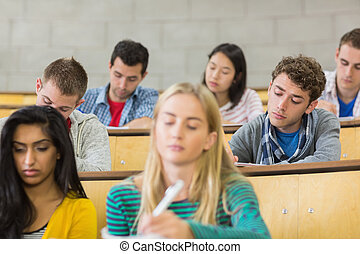 Concentrating students sitting at lecture hall